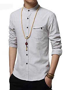 男性用 プレイン カジュアル / オフィス / プラスサイズ シャツ,長袖 コットン ブルー / ホワイト / グレー
