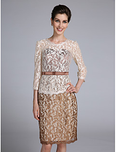 Lanting Bride Sheath / Column Mother of the Bride Dress Knee-length 3/4 Length Sleeve Lace with Sash / Ribbon