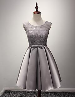 באורך  הברך סאטן שמלה לשושבינה - גזרת A עם תכשיטים עם סרט