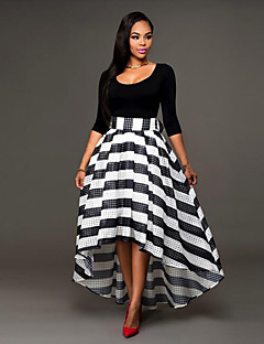 Women's Casual/Daily Street chic Bow Striped  Sheath / Two Piece Dress Round Neck Asymmetrical Long Sleeve