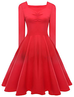 Women's Going out / Casual/Daily Cute / Chinoiserie Sheath Dress,Solid V Neck Knee-length Long Sleeve Red BN0088