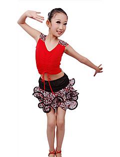 Dança Latina Roupa Crianças Actuação Fibra de Leite Amarrotado 2 Peças Sem Mangas Natural Saia / Top100:35cm, 110:37cm, 120:40cm,