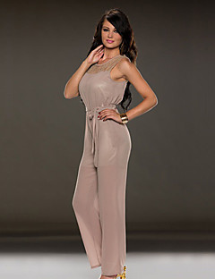 Women's Solid Pink / Black / Brown Jumpsuits , Sexy Round Neck Sleeveless