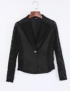 여성 솔리드 노치 라펠 긴 소매 블레이져,섹시 화이트 / 블랙 면 / 폴리에스테르 / 나일론 가을 얇음