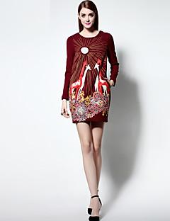 Damen Hülle Kleid-Ausgehen Anspruchsvoll Stickerei Rundhalsausschnitt Übers Knie Langarm Blau / Rot Polyester Frühling / Sommer
