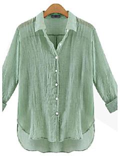 Mulheres Camisa Casual Moda de Rua Outono,Sólido Azul / Branco / Verde / Laranja Linho Colarinho de Camisa Manga Longa Fina