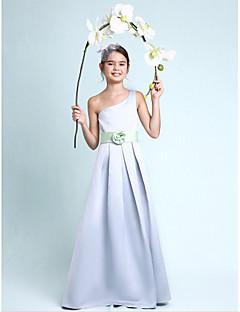 Lanting Bride Tot de grond Satijn Junior bruidsmeisjesjurk A-lijn / Prinses Eén-schouder Naturel met Drapering / Bloem(en) / Sjerp / Lint