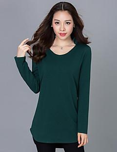 Vår / Höst Enfärgad Långärmad Ledigt/vardag T-shirt,Streetchic Kvinnors V-hals Bomull Medium Svart / Grå / Grön