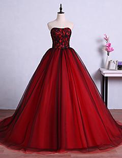 포멀 이브닝 드레스 볼 드레스 끈없는 스타일 스윕 / 브러쉬 트레인 튤 와 크리스탈 디테일 / 레이스