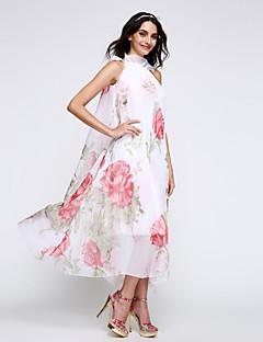 Women's Sexy Casual Print Cute Maxi Inelastic Sleeveless  Dress (Chiffon)