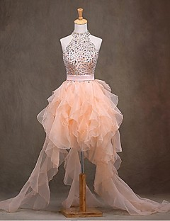 Cocktail Party Dress - Sparkle & Shine Ball Gown High Neck Asymmetrical Organza with Beading Sash / Ribbon