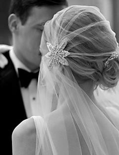 Wedding Veil One-tier Elbow Veils Cut Edge Tulle White