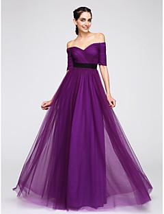 TS Couture 프롬 포멀 이브닝 드레스 - 우아한 A-라인 오프 더 숄더 바닥 길이 튤 와 크리스 크로스
