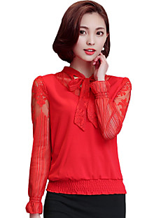 Spring/Fall Women's Go out/Casual/Daily Blouse Solid Bow Collar Long Sleeve Red/Black /Purple Slim Tops