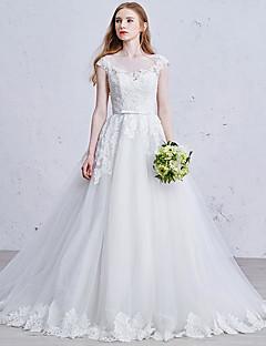 Princesse Robe de Mariage  Traîne Tribunal Carré Tulle avec Dentelle / Perle / Ceinture / Ruban / Strass / Appliques / Noeud
