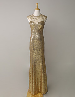 Formal Evening Dress Trumpet / Mermaid Jewel Floor-length Satin / Tulle / Sequined with Crystal Detailing / Sequins