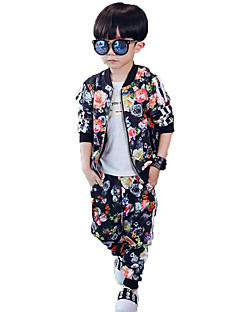 Boy's Casual/Daily Print Pants / Suit & Blazer / Clothing Set,Polyester / Others Spring / Fall Black / Animal Print