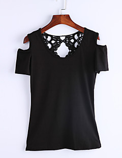 Women's Off The Shoulder/Lace Solid Patchwork Lace Hollow Out Off Shoulder All Match T-shirt,Round Neck Short Sleeve