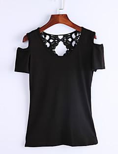 Kortærmet Rund hals Medium Kvinders Blå / Rød / Sort / Grøn Ensfarvet Sommer Simpel Casual/hverdag T-shirt,Polyester