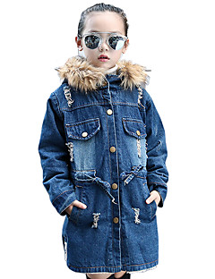 Girl's Cotton Spring/Autumn/Winter Fashion Long Sleeve Hoodie Fur Trim Cowboy Jacket Fleece Lining Denim Coat