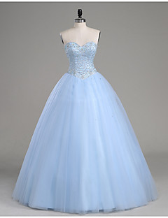 2017 Formal Evening / Quinceanera Dress A-line Strapless Floor-length Tulle with Beading