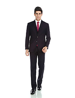 2017 Tuxedos Tailored Fit Notch Single Breasted Three-buttons Wool & Polyester Blended Solid 2 PiecesDark