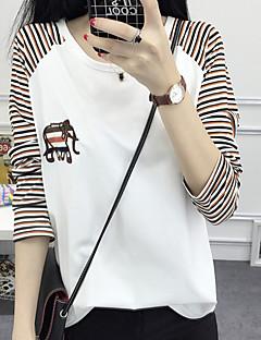 Mulheres Camiseta Casual Moda de Rua Outono,Listrado / Estampado Azul / Branco Algodão Decote Redondo Manga Longa Média