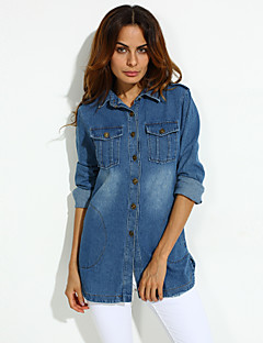 Women's All Match Blue Demin Coat , Casual / Day / Plus Size
