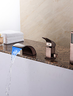 アンティーク調 / アールデコ調/レトロ風 / 近代の ローマンバスタブ LED / 滝状吐水タイプ / ハンドシャワーは含まれている with  セラミックバルブ シングルハンドル三穴 for  オイルブロンズ , 浴槽用水栓