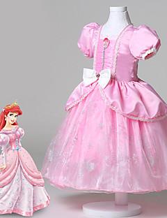 Ball Gown Tea-length Flower Girl Dress - Cotton / Lace / Organza / Satin Short Sleeve Bateau withCrystal Detailing /
