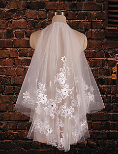 Wedding Veil Two-tier Elbow Veils Cut Edge Tulle / Lace Ivory Ivory