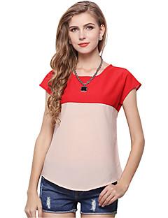 Sommar Färgblock Kortärmad Utekväll / Ledigt/vardag T-shirt,Enkel / Gullig / Streetchic Kvinnors Rund hals Polyester Tunn Röd