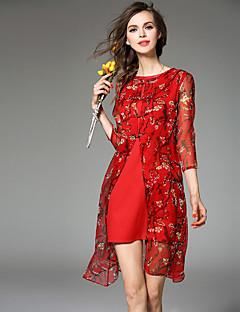 jojo hans női kiment szexi / aranyos köpeny ruha, virágos kerek nyakú térd felett ¾ hüvely vörös selyem