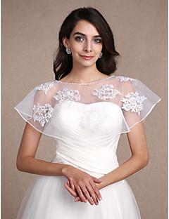 Stole da donna Coprispalle Senza maniche Pizzo Bianco Matrimonio Da sera Ovale 30cm Pizzo Fantasia Pullover