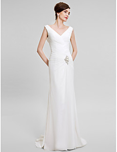 Lanting Bride Trumpet / Mermaid Mother of the Bride Dress Sweep / Brush Train Sleeveless Chiffon with Crystal Detailing / Criss Cross