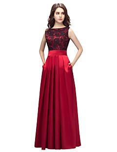 Formal Evening Dress Sheath / Column Bateau Floor-length Lace / Charmeuse with Lace / Pockets
