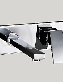 Moderní Nástěnná montáž Otáčecí with  Mosazný ventil S dvěma otvory Single Handle dva otvory for  Pochromovaný , Koupelna Umyvadlová