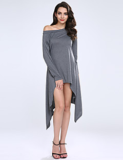 Women's Off The Shoulder Solid Black/Gray Pullover,Casual/Plus Sizes Long Sleeve Sweaters