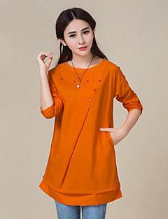 Mulheres Camisa Casual / Tamanhos Grandes Moda de Rua Primavera / Outono,Sólido Azul / Bege / Verde / Laranja Linho Decote RedondoManga