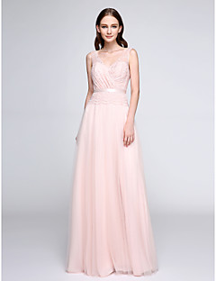 Lanting Bride®Floor-length Lace / Tulle Bridesmaid Dress - See Through Sheath / Column V-neck with Lace