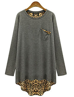 Women's Plus Size Street chic Spring T-shirt,Leopard Round Neck Long Sleeve Black / Gray Cotton Medium