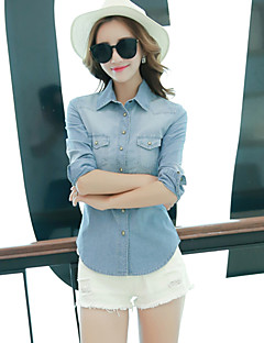 Women's Solid Blue Shirt,Shirt Collar Long Sleeve