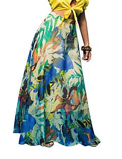 Vintage / Bohem Maxi Kjolar Kvinnors Oelastisk Polyester