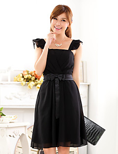 Cocktail Party Dress A-line Straps Knee-length Chiffon / Polyester with Bow(s) / Sash / Ribbon