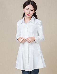 Vrouwen Street chic Lente / Herfst Overhemd,Casual/Dagelijks Effen Overhemdkraag Lange mouw Wit / Zwart Katoen Medium