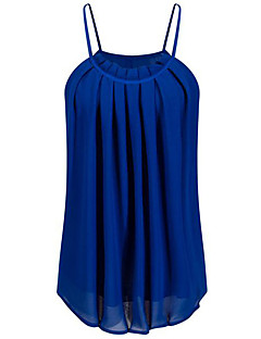 Uden ærmer Med stropper Medium Kvinders Blå / Rød / Hvid / Sort Ensfarvet Sommer Simpel I-byen-tøj / Casual/hverdag Tank Tops,Polyester