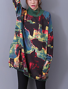 Women's Casual Street chic Loose Long Hoodies,Rainbow Red / Green Turtleneck Cotton / Linen Spring / Fall Medium