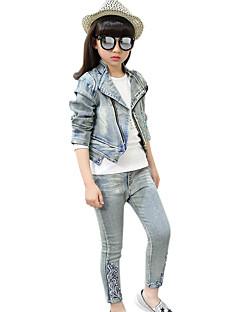 Girl's Cotton Spring/Autumn Casual Cartoon Diamante Cowboy Denim Coat T Shirt And Jeans Pants Three-piece Set
