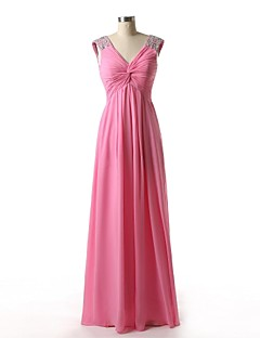 Floor-length Chiffon Bridesmaid Dress - A-line V-neck with Beading / Side Draping