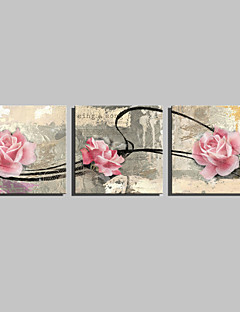E-HOME® Stretched Canvas Art Pink Rose Decorative Painting Set of 3